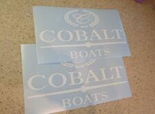 "Cobalt Vintage Boat Decal White 10"" Die-Cut 2-PAK FREE SHIP + FREE Fish Decal!"