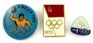 Olympic Games Munich 1972 Set of 3 Soviet Pins Water polo,Canoeing,USSR Flag