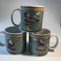 Debbie Mom Christmas Coffee Mugs Joy To The World Set Of Three, 2000