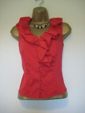 Hobbs red frilled blouse/top size 10