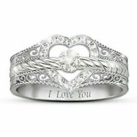 UK Women Fashion 925 Silver Jewelry White Sapphire Heart Wedding Ring Size 6-10