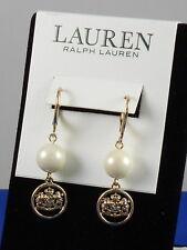 Ralph Lauren Goldtone Faux Pearl Openwork Crest Disc Drop Earrings 60496899-D60