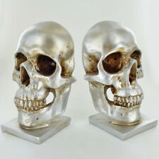 Silver Skull Bookends Heavy Quality Unusual Goth Tattoo Biker Memento Mori Gift