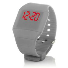 Digital Silikon LED Armband Uhr Armbanduhr Watch Herren Damen Kinder Sport Grau