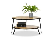 Scandinavian Round Coffee Table BLACK with Shelves Timber Wood Metal Oak