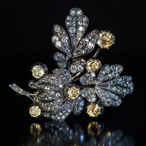 Antique Victorian Yellow Citrine &Diamond Flower Brooch Pin 14K White Gold Over