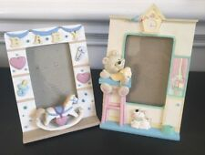 Vintage Teddy Bear Rocking Horse Puppy Dog Newborn Baby Picture Frames Lot of 2