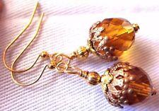 EARRINGS ACORN NUT Natural Fall Topaz Czech Glass Copper Gold Hooks USA Artisan