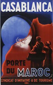 Vintage Travel Poster Casablanca Porte du Maroc