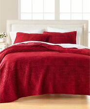 Martha Stewart STANDARD Pillow Sham Velvet Channel Stitch RED A03165