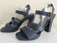 Ladies NEXT Heel SANDALS Size 8 WIDE FIT navy open toe chunky heel FREE POST
