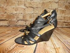 Nine West Women's Shoes Heels Wedge Sandals 8.5 M Black Strappy Leather Zippers