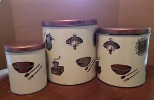 3 Tuttle Metal Canisters colonial kitchen motifs cream and copper color VTG