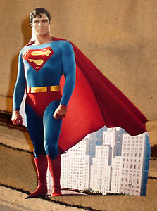 """Superman Christopher Reeve Color Figure Tabletop Display Standee 10.5"""" Tall"""