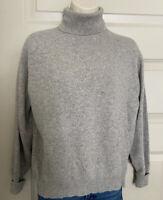 Neiman Marcus Long Sleeve Turtleneck Sweater Sz Large 100% Cashmere Gray