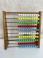 Vintage 1960s Children Nursery Wooden EDUCATIONAL ABACUS MATHS COUNTING Beads
