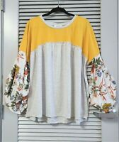 mango floral puff slev heathered top  2XL