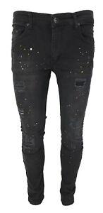 Mens Slim Fit Jeans Stretch Denim Ripped Paint Splatter Bikers Casual Trousers