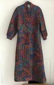 Vintage Paisley Red, Blue & Purple Maxi Quilted Dressing Gown, UK Size 14-16