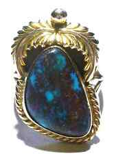 ESTATE NATIVE AMERICAN NAVAJO 14K YELLOW GOLD & TURQUOISE RING SIZE 8