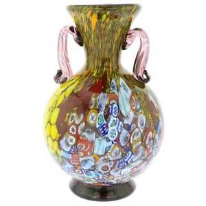 GlassOfVenice Murano Glass Millefiori Vase With Handles - Purple