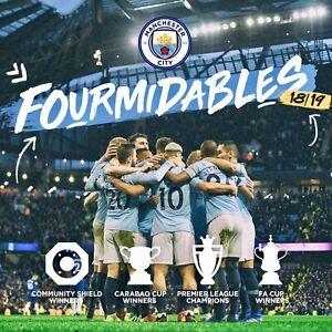 "MCFC Man City Champions Fourmidables 18/19 Pillow Cushion Case Cover Art 17""x17"""