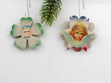 2 Vintage Venetian Dew Christmas Ornaments cardboard,flower and star.Germany.