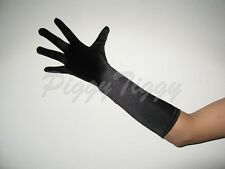 "15"" Black Stretch Satin Formal Wedding Bridesmaid Prom Elbow Length Party Gloves"