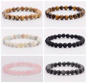 Tiger Eye Natural Stone Beaded Bracelet Women Men Elasticity Bangle Jewelry Lot