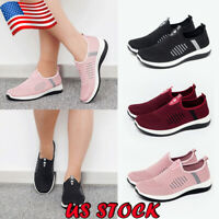 US Women's Athletic Breathable Sneakers Flat Slip On Sports Casual Low Top Shoes