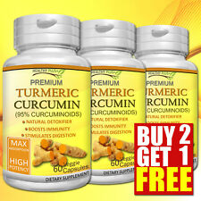 TURMERIC 95% CURCUMINOIDS Capsules Natural Detox Anti-Aging Antioxidants ORGANIC