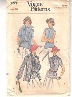 Vogue Misses Shirt Jacket Overblouse Vintage Sewing Pattern Size 16