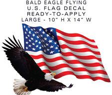 "US PATRIOTIC American Flag Eagle LARGE Camper RV sticker 14"" Wide EASY-APPLY"