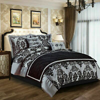 Black Grey Denton Duvet Cover Double  Size Quilt Bedding Set With Pillow Cases