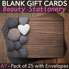 Blank Gift Voucher Card Massage Beauty Spa Holistic Salon - x25 +FREE Envelopes