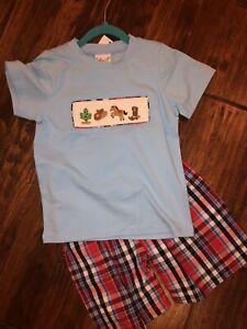 NWT Western Cowboy Hand Smocked Boy Shorts & Shirt Set Southern 6