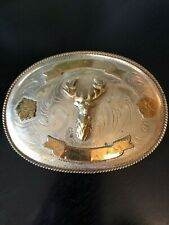 Buck with Horns Belt Buckle Two Tone Looks Older Has Hallmark Larger Dimensional