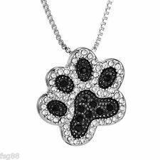 New Dog Pooch Paw Crystal Rhinestone Black Silver Tone Pendant Necklace