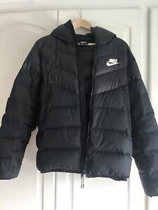 Nike Black Hooded Puffer Jacket Coat Padded Small