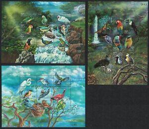 Bhutan Amazon Toucan Ibis Jay Birds 27 stamps 3 Sheetlets 1999 MNH