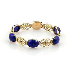 Estate 14k Yellow Gold & Cabochon Lapis Scroll Design Bracelet