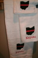 Fireman Red Thin Line Ohio State Firefighter Personalized 3 Piece Bath Towel Set