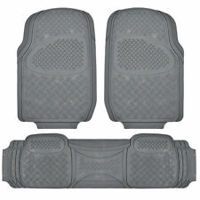 Extra Heavy Duty Rubber Floor Mats - 3 Piece Set Gray All Weather Armor