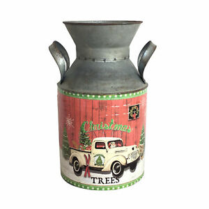 Homemade Metal Churn with Christmas Design, Suitable as Festive Decoration