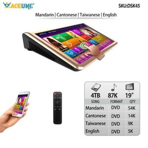 4TB HDD 87K Chinese+English Songs,19''Touch Screen Karaoke Player ECHO Mixing