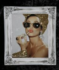 Audrey Hepburn gold Glitter Canvas Picture Shabby Chic frame , Wall Art.