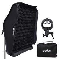 "Godox 80x80cm 32"" Honeycomb Grid Softbox + S-Type Flash Bracket Bowens Mount Kit"