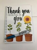 Thank you for helping me grow notebook and pen teacher gift