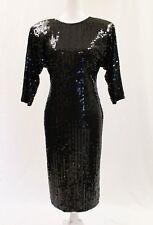 Vintage Oleg Cassini Black Sequined Low Back Dolman Sleeve Dress Sz 8