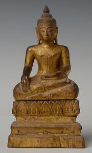 19th Century, Antique Lanna Thai Wooden Seated Buddha